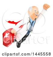 Poster, Art Print Of 3d Super Senior Caucasian Male Doctor Or Veterinarian Flying With A First Aid Kit On A White Background