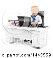 Clipart Of A 3d Senior Caucasian Male Doctor Or Veterinarian Using A Laptop In His Office On A White Background Royalty Free Illustration
