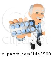 Clipart Of A 3d Senior Caucasian Male Doctor Or Veterinarian Holding Up A Packet Of Pills On A White Background Royalty Free Illustration