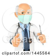 Poster, Art Print Of 3d Senior Caucasian Male Surgeon Doctor Or Veterinarian Giving A Thumb Up And Holding A Scalpel On A White Background