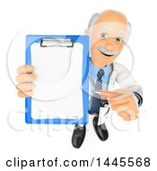 Poster, Art Print Of 3d Senior Caucasian Male Doctor Or Veterinarian Holding Up A Clipboard On A White Background