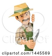 Clipart Of A 3d Male Landscaper Or Gardener Holding A Hand Spade Around A Sign On A White Background Royalty Free Illustration