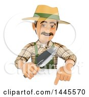 Clipart Of A 3d Male Landscaper Or Gardener Holding A Hand Spade Over A Sign On A White Background Royalty Free Illustration