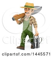 Clipart Of A 3d Male Landscaper Or Gardener Carrying A Giant Spade And Watering Can On A White Background Royalty Free Illustration