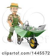 3d Male Landscaper Or Gardener Pushing Tools In A Wheelbarrow On A White Background