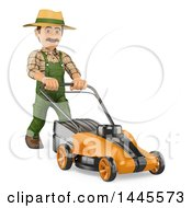Clipart Of A 3d Male Landscaper Or Gardener Pushing A Lawn Mower On A White Background Royalty Free Illustration by Texelart