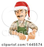 Clipart Of A 3d Male Landscaper Or Gardener Wearing A Christmas Santa Hat And Pointing Down Over A Sign On A White Background Royalty Free Illustration by Texelart