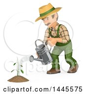 Clipart Of A 3d Male Landscaper Or Gardener Watering A Seedling On A White Background Royalty Free Illustration