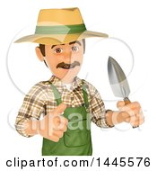 Clipart Of A 3d Male Landscaper Or Gardener Holding A Hand Spade And Giving A Thumb Up On A White Background Royalty Free Illustration