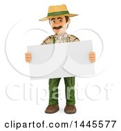 Clipart Of A 3d Male Landscaper Or Gardener Holding A Blank Sign On A White Background Royalty Free Illustration by Texelart