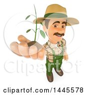 Clipart Of A 3d Male Landscaper Or Gardener Holding Up A Seedling Plant On A White Background Royalty Free Illustration