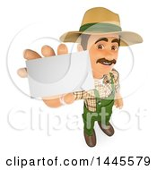 Clipart Of A 3d Male Landscaper Or Gardener Holding Up A Blank Business Card On A White Background Royalty Free Illustration by Texelart