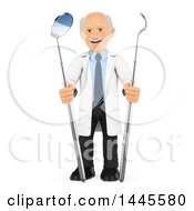 Clipart Of A 3d Senior Caucasian Male Dentist With Peridontal Scaler And Mirror Tools On A White Background Royalty Free Illustration