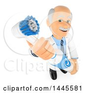 Clipart Of A 3d Senior Caucasian Male Dentist Holding Up A Giant Electronic Toothbrush On A White Background Royalty Free Illustration
