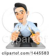 Clipart Of A 3d Man Emerging From A Laptop Screen And Holding A Wrench And Screwdriver On A White Background Royalty Free Illustration