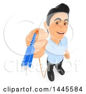 Clipart Of A 3d Male Information Technology Technician Holding A Fiber Optic Cable On A White Background Royalty Free Illustration by Texelart