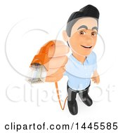3d Male Information Technology Technician Holding An Ethernet Cable On A White Background