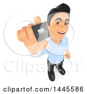 Clipart Of A 3d Male Information Technology Technician Holding Up A Microprocessor On A White Background Royalty Free Illustration