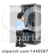 Clipart Of A 3d Male Information Technology Technician Working On A Server Rack On A White Background Royalty Free Illustration