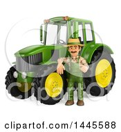 Poster, Art Print Of 3d Male Farmer Leaning On A Tractor On A White Background