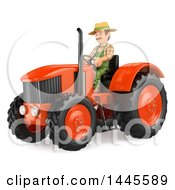 Poster, Art Print Of 3d Male Farmer Operating A Tractor On A White Background