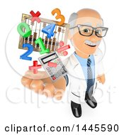 Clipart Of A 3d Senior Caucasian Male Math Teacher Holding Up A Calculator Numbers Symbols And An Abacus On A White Background Royalty Free Illustration