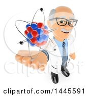 Clipart Of A 3d Senior Caucasian Male Physics Teacher Holding Up An Atom On A White Background Royalty Free Illustration