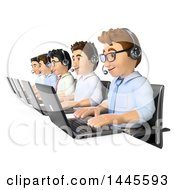 Clipart Of A 3d Line Of Call Center Business Men Working On A White Background Royalty Free Illustration