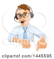 Clipart Of A 3d Call Center Business Man Wearing A Headset And Pointing Down Over A Sign On A White Background Royalty Free Illustration