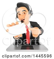 Clipart Of A 3d Business Man Wearing A Headset Emerging From A Laptop Screen And Holding Out A Business Card  On A White Background Royalty Free Illustration