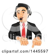 Clipart Of A 3d Business Man Wearing A Headset And Pointing Down Over A Sign On A White Background Royalty Free Illustration