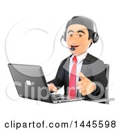 Clipart Of A 3d Business Man Wearing A Headset Giving A Thumb Up And Using A Laptop On A White Background Royalty Free Illustration