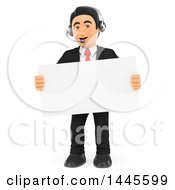Clipart Of A 3d Business Man Wearing A Headset And Holding A Blank Sign On A White Background Royalty Free Illustration