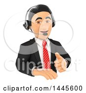 Clipart Of A 3d Business Man Wearing A Headset And Giving A Thumb Up Over A Sign On A White Background Royalty Free Illustration