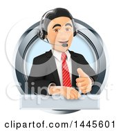 Clipart Of A 3d Business Man Wearing A Headset Giving A Thumb Up And Emerging From A Circle On A White Background Royalty Free Illustration