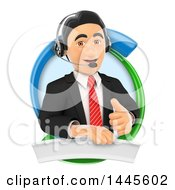 Clipart Of A 3d Business Man Wearing A Headset Giving A Thumb Up And Emerging From A Blue And Green Circle On A White Background Royalty Free Illustration