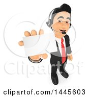 Clipart Of A 3d Business Man Wearing A Headset And Holding Out A Business Card On A White Background Royalty Free Illustration