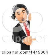 Clipart Of A 3d Business Man Wearing A Headset And Pointing Around A Sign On A White Background Royalty Free Illustration by Texelart