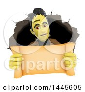 Clipart Of A 3d Frankenstein Emerging From A Hole And Holding Out A Scroll On A White Background Royalty Free Illustration by Texelart