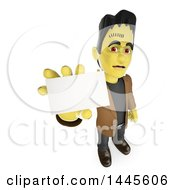 Clipart Of A 3d Frankenstein Holding Up A Blank Business Card On A White Background Royalty Free Illustration
