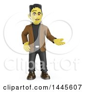 Clipart Of A 3d Frankenstein Presenting On A White Background Royalty Free Illustration