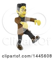 Clipart Of A 3d Frankenstein Walking On A White Background Royalty Free Illustration by Texelart