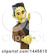 Clipart Of A 3d Frankenstein Pointing Around A Sign On A White Background Royalty Free Illustration by Texelart