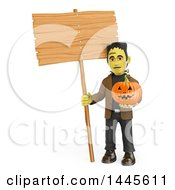 Clipart Of A 3d Frankenstein Holding A Blank Sign And A Halloween Jackolantern Pumpkin On A White Background Royalty Free Illustration