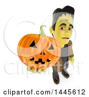 Clipart Of A 3d Frankenstein Holding Up A Halloween Jackolantern Pumpkin On A White Background Royalty Free Illustration by Texelart