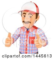 Poster, Art Print Of 3d Handyman Giving Two Thumbs Up On A White Background