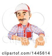 Poster, Art Print Of 3d Handyman Pointing Down Over A Sign On A White Background