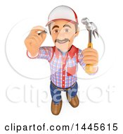 Poster, Art Print Of 3d Handyman Hammering A Nail On A White Background