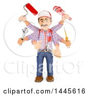 3d Multitasking Handyman With Six Arms On A White Background