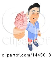 Clipart Of A 3d Casual Man Holding Up An Ice Cream Cone On A White Background Royalty Free Illustration
